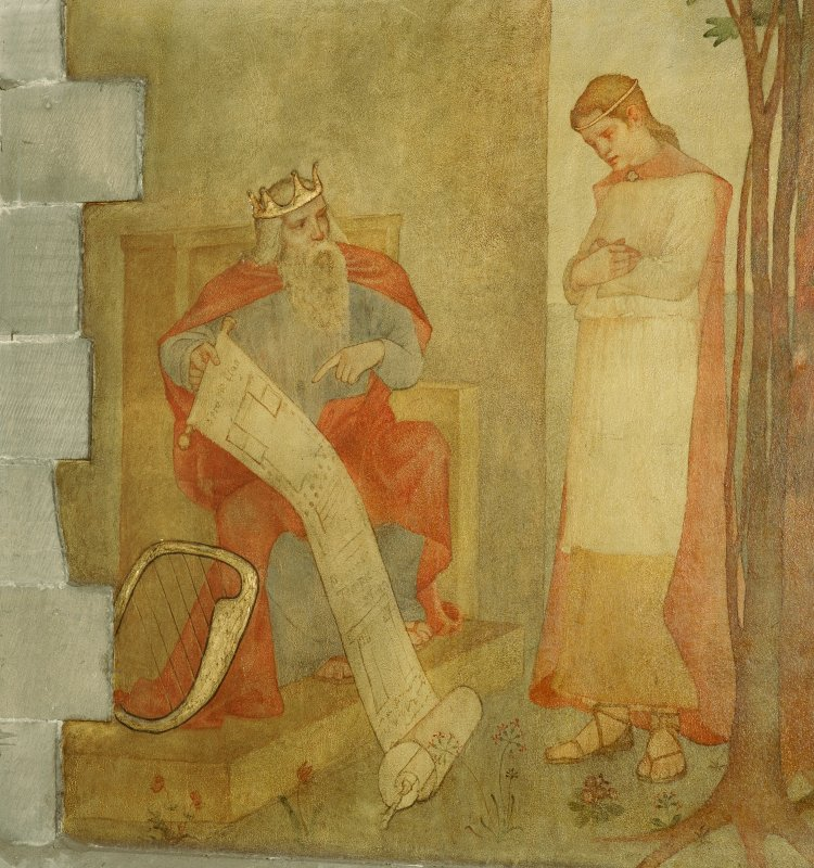 Interior. Nave, detail of mural depicting King David probably showing Solomon his plans for the Temple.