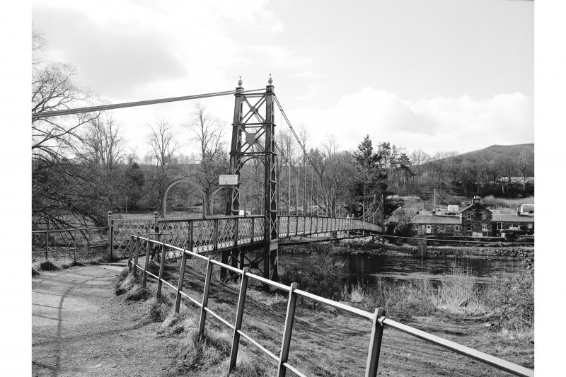 Pitlochry, Suspension Bridge View from N showing NW front and N pylon