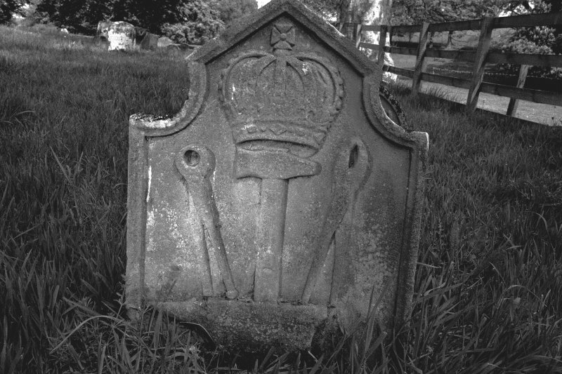Detail of carved headstone.