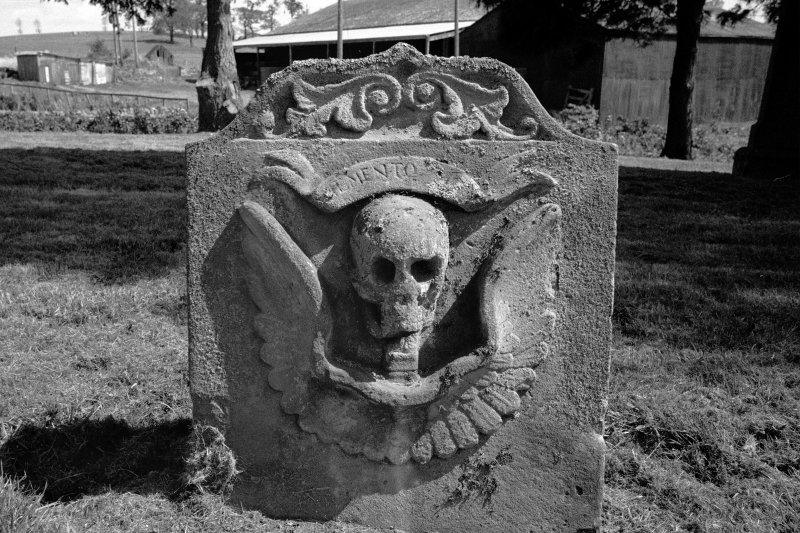 Nisbet churchyard. Gravestone commemorating Thomas Rutherford d.1743. Rear view showing winged skull.