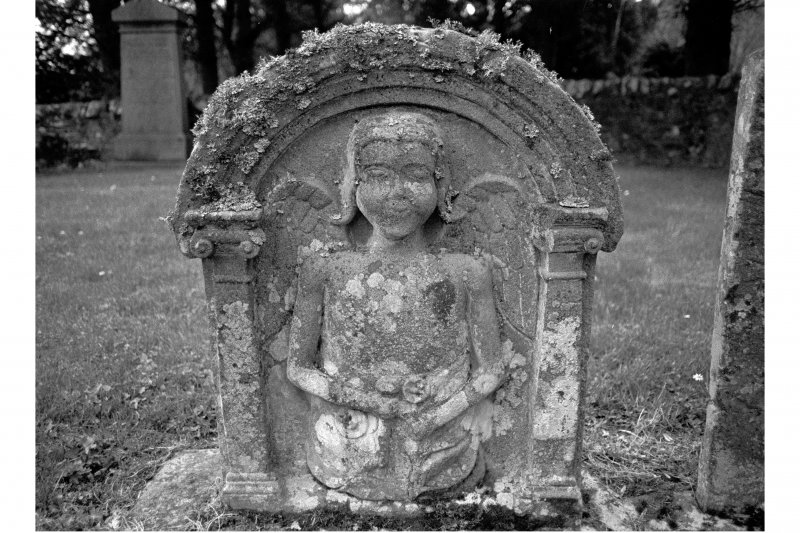Teviothead churchyard. Gravestone commemorating Mary Scott, d.1745. Rear face, showing portrait of an angel.
