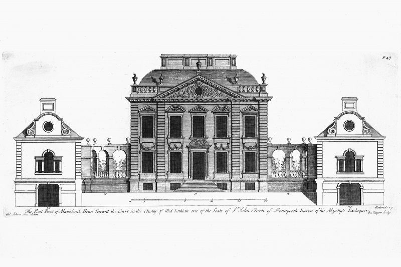 Mavisbank House (New Saughtonhall). East front to the court. William Adam 1722/23.