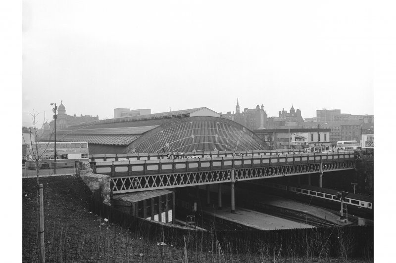 Glasgow, Queen Street Station, Bridge View from ENE showing NNE front of bridge with Queen Street Station in background