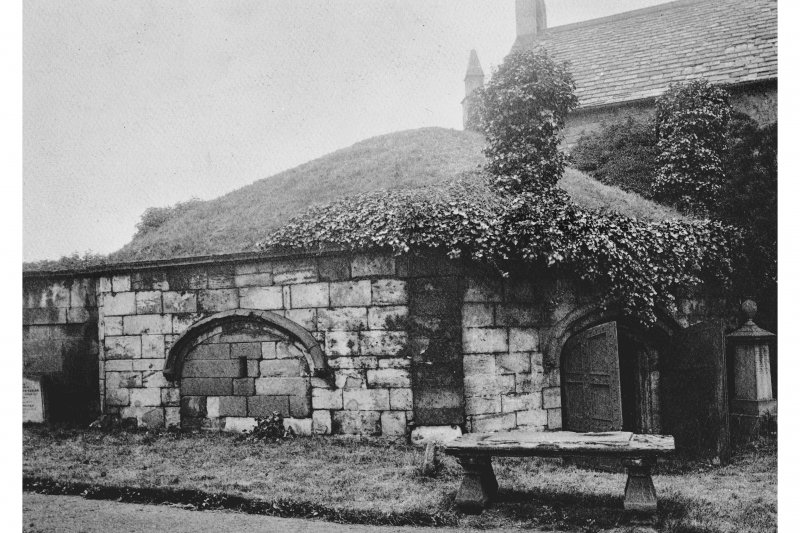 Edinburgh, Restalrig Road South, Restalrig Church, St. Triduana's Chapel. View of the well house/Chapel with a grass covered roof, before the new roof was erected.