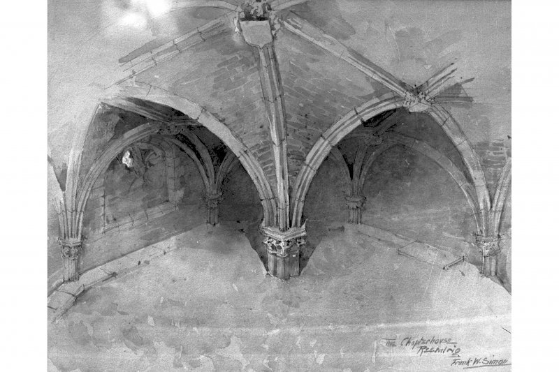 Edinburgh, Restalrig Road South, Restalrig Church, St. Triduana's Well, interior. Photographic copy of view of vaulted roof. Insc: 'The chapterhouse, Restalrig, Frank W. Simon'. ink and watercolour.