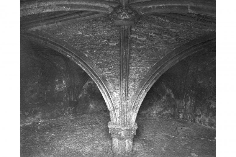 Edinburgh, Restalrig Road South, Restalrig Church, St. Triuana's Well, interior. View of vaulted roof.