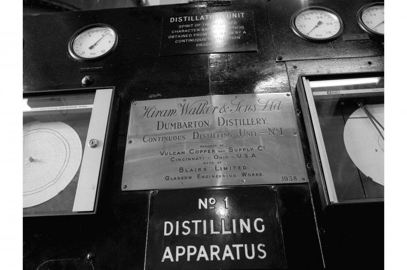 Dumbarton Distillery; Interior View of No. 1 Distilling Apparatus; detail of maker's plate