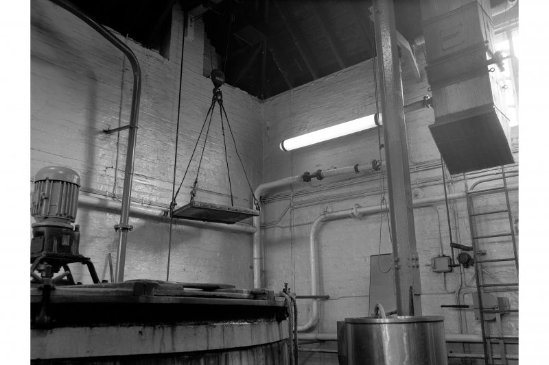 Falkirk, Rosebank Distillery; Interior View of yeast hoist and washbacks