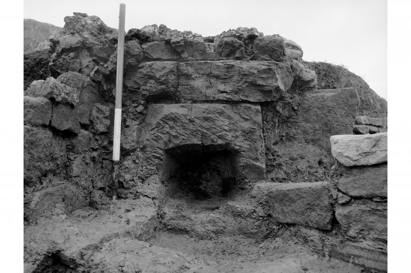 Red Smiddy Ironworks Excavation photograph; detailed view of tuyere hole