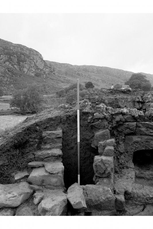 Red Smiddy Ironworks Excavation Photograph; view of gap between stack and lining in blowing arch