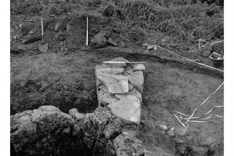 Red Smiddy Ironworks Excavation photograph; view from above of pier between stack and blowing arches