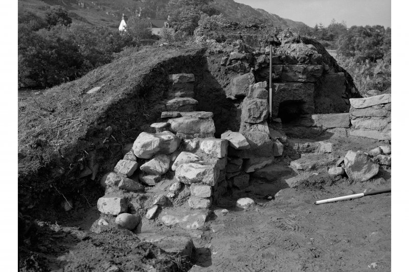 Red Smiddy Ironworks Excavation photograph; view of leftside wing wall of blowing arch