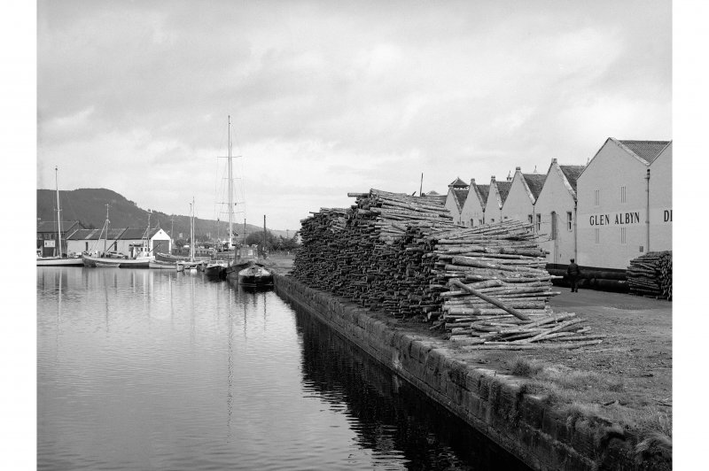 Inverness, Muirtown Basin, Caledonian Canal General view, Glen Albyn distillery in background