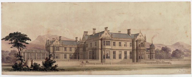 Watercolour of Poltalloch House. Signed and dated 'Will.m Burn 5 Stratton St. May 1849.