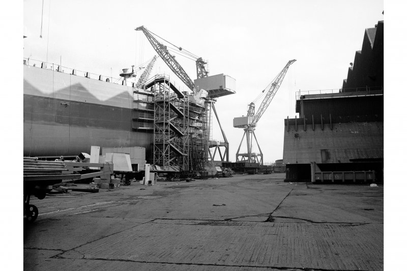 Glasgow, 1048 Govan Road, Fairfield Shipbuilding Yard and Engine Works View from SSE showing cranes and ship on stocks