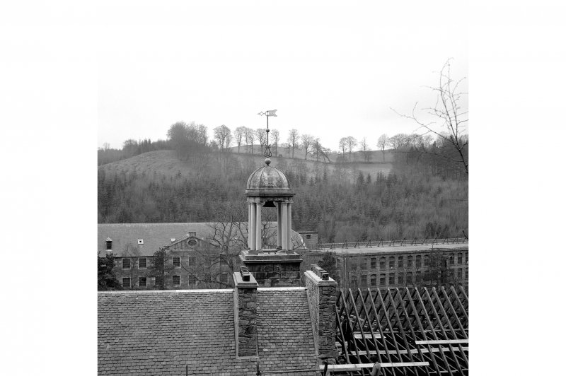 New Lanark, New Buildings View from NE showing cupola and roof repairs with mill number 3 and mill number 2 in background
