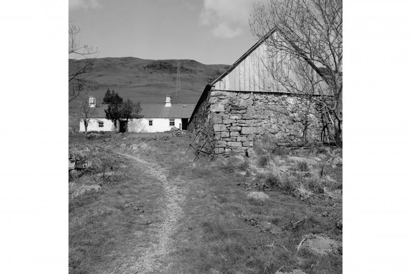 Auchindrain, Township View from SSE showing SSE front of N barn with N cottage and byre in background