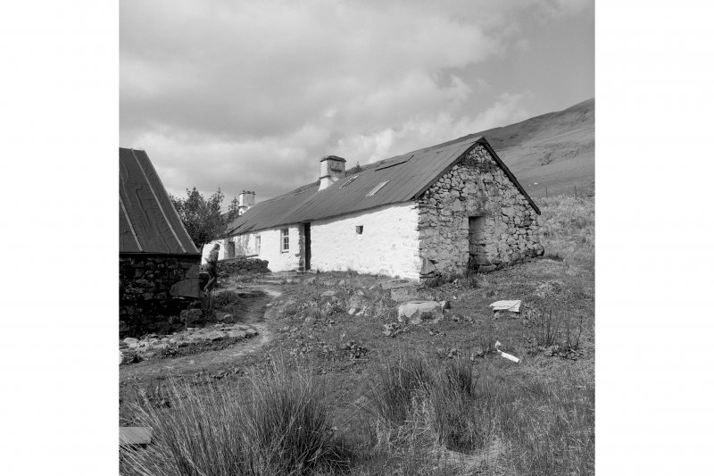 Auchindrain, Township View from E showing SSE and ENE fronts of N cottage and byre