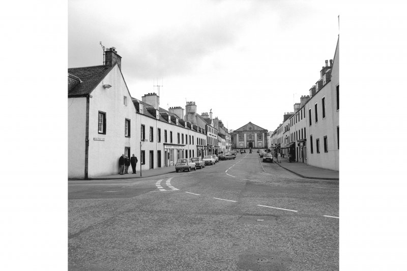 Inveraray, Main Street East, general View from NE showing NW front of Main Street East with Main Street West on right and church in distance