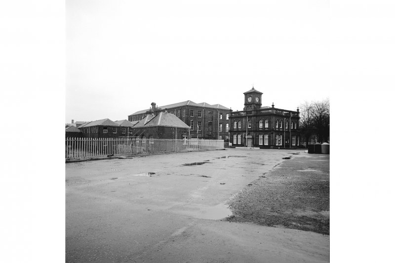 Paisley, Ferguslie Thread Mills View looking NE at Spool Store and Works Fire Station; on the right is the Bridge Lane Gate House