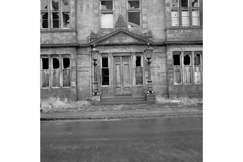 Paisley, Ferguslie Thread Mills Detailed view of main door to the Counting house (N elevation)