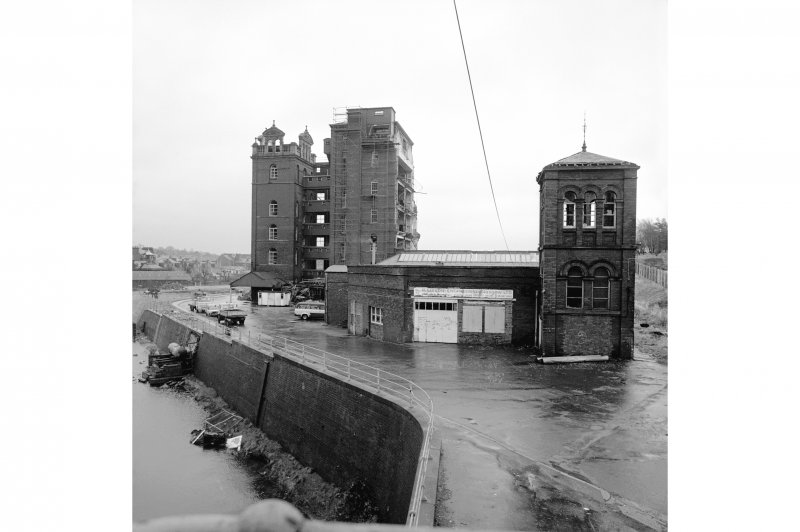 Paisley, Ferguslie Thread Mills View from West Gate House of No. 8 Spinning Mill, on the right is the mill boiler house