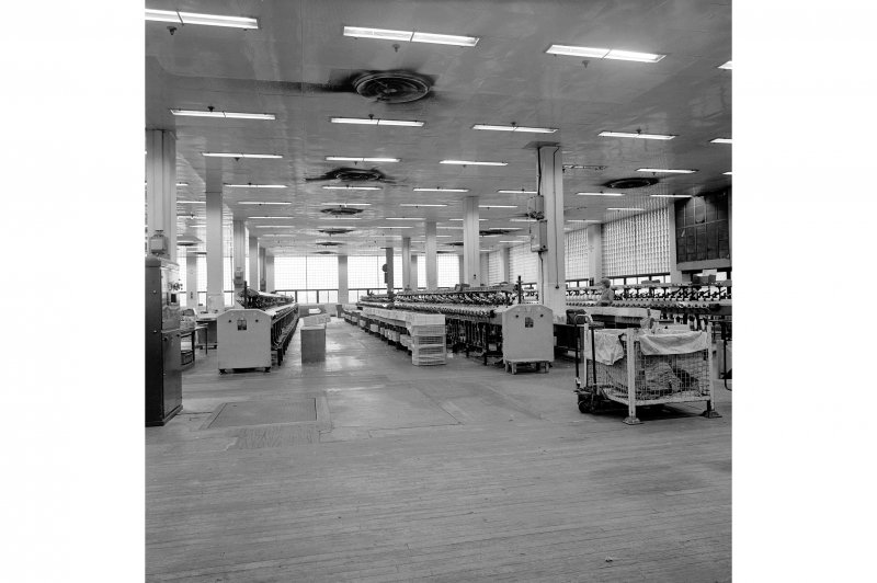 Paisley, Ferguslie Thread Mills, No.3 Spinning Mill; Interior Looking S along 1st Flat of mill, west end