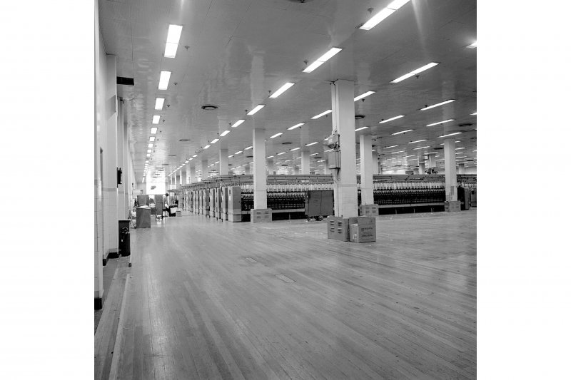Paisley, Ferguslie Thread Mills, No. 3 Spinning Mill; Interior Looking E along 2nd Flat of mill