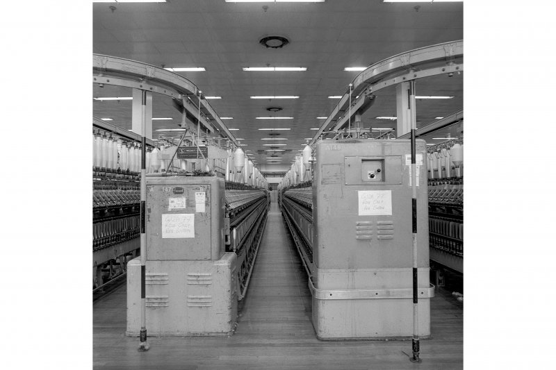 Paisley, Ferguslie Thread Mills, No. 3 Mill; Interior View between rows of ring spinning machines