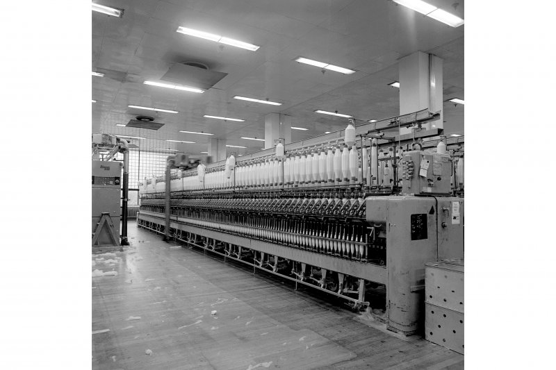 Paisley, Ferguslie Thread Mills, No. 3 Spinning Mill; Interior View of ring spinning machine in 2nd flat