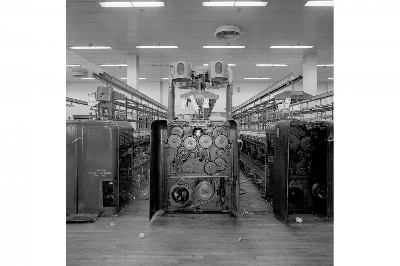 Paisley, Ferguslie Thread Mills, No. 3 Spinning Mill; Interior View of the 'change gears' at the end of a spinning machine, 3rd flat