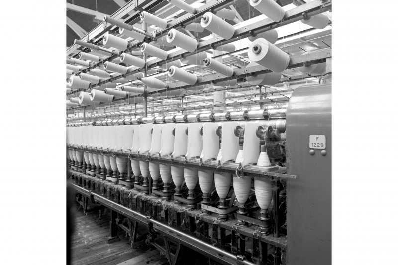 Paisley, Ferguslie Thread Mills, Mill No.1, 5th Flat; Interior Detailed view of working spinning machine