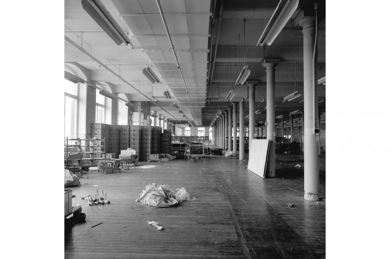 Paisley, Ferguslie Thread Mills, Mill No.1, 2nd Flat; Interior View looking ESE along N side of flat