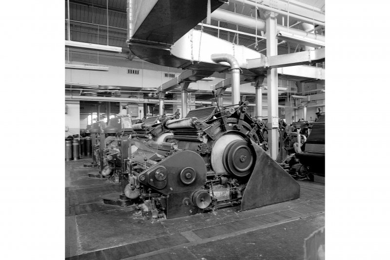 Paisley, Ferguslie Thread Mills, Mill No.1, 1st Flat; Interior View of single drum carding machine at E end of S side, 1st flat