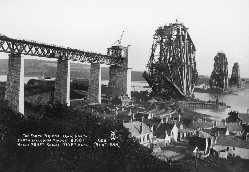 View from the North of the bridge under construction. Insc. 'The Forth Bridge from North. Length including Viaduct 8098 Ft. Height 369 Ft. Spans 1710 Ft each. (Augt. 1888)  626.'