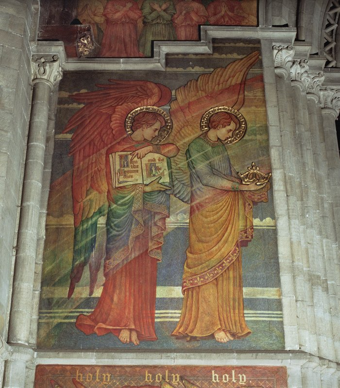 Interior. Detail of the mural on chancel arch showing depictions of the Evangelist (left) and Apostle (right), two of the Four Great Cherubim.