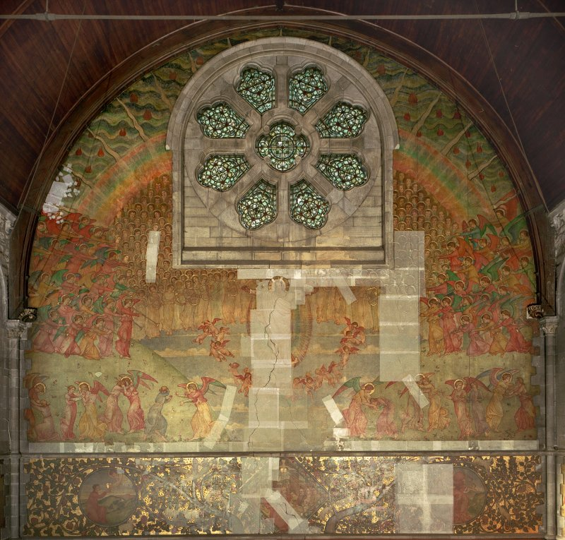 Interior. General view of mural on west wall depicting the Second Coming of Christ.