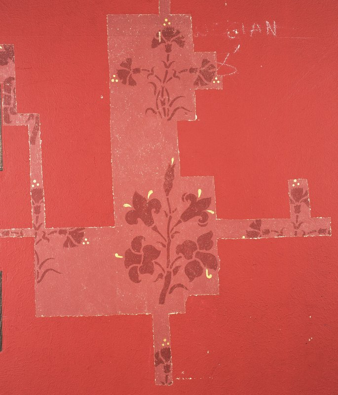 Interior. Nave, detail of revealed painted wall decoration on north wall.