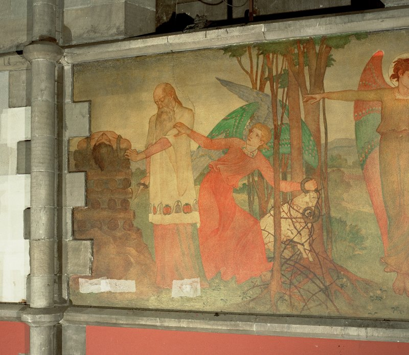 Interior. Nave, detail of mural depicting the story of Abraham and Isaac.