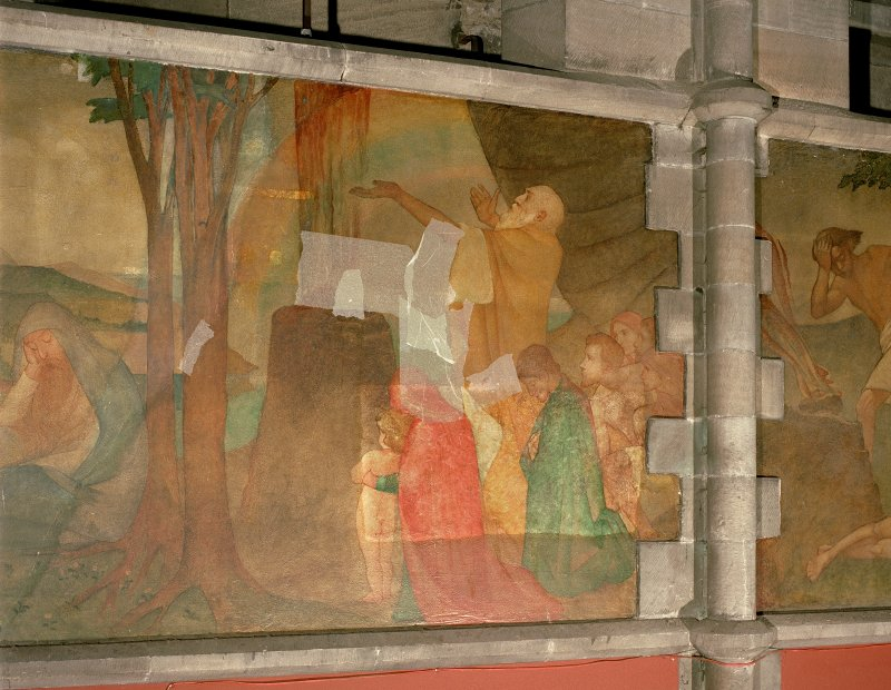 Interior. Nave, detail of mural depicting Noah making his Covenant with God.