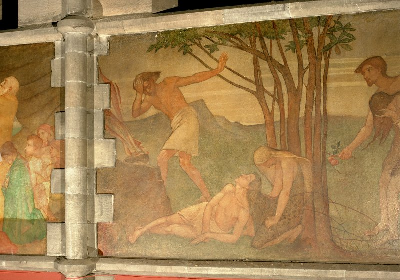 Interior. Nave, detail of mural depicting the story of Cain and Abel.