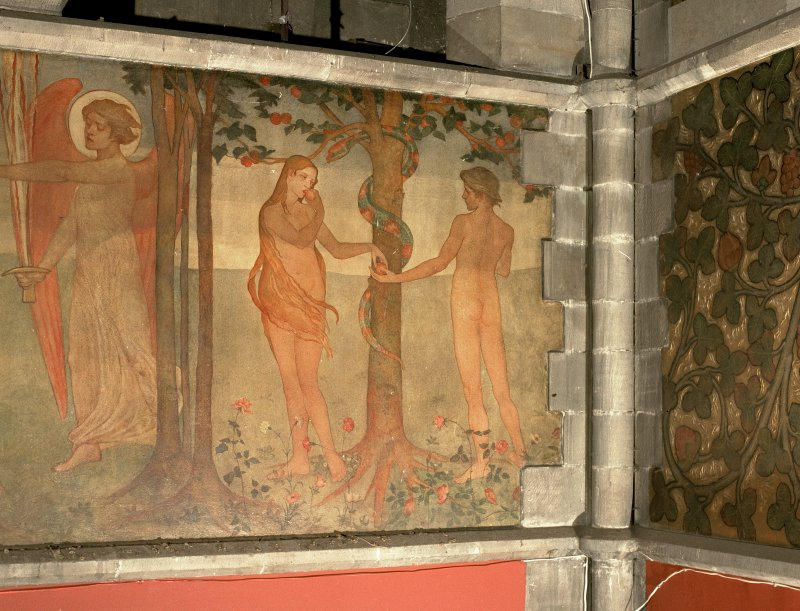Interior. Nave, detail of mural depicting the Temptation of Adam and Eve.
