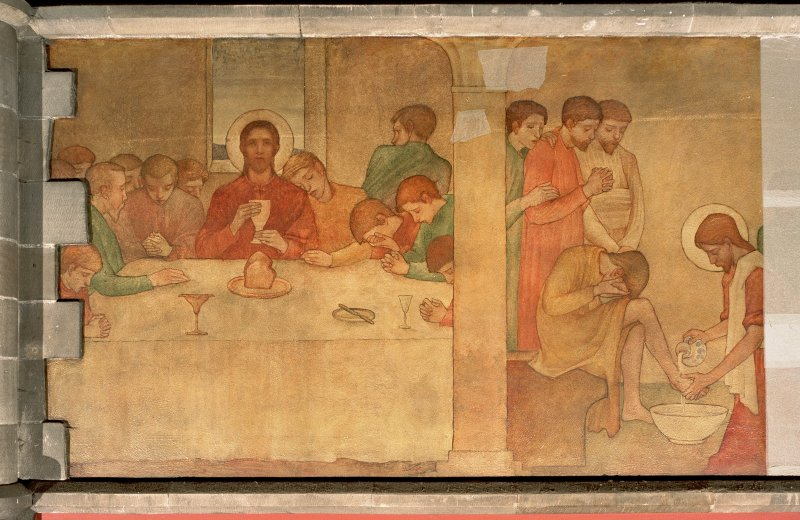 Interior. Nave, detail of mural depicting the Last Supper.