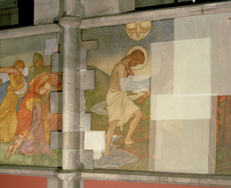 Interior. Nave, detail of mural depicting the baptism of Christ by the John the Baptist.