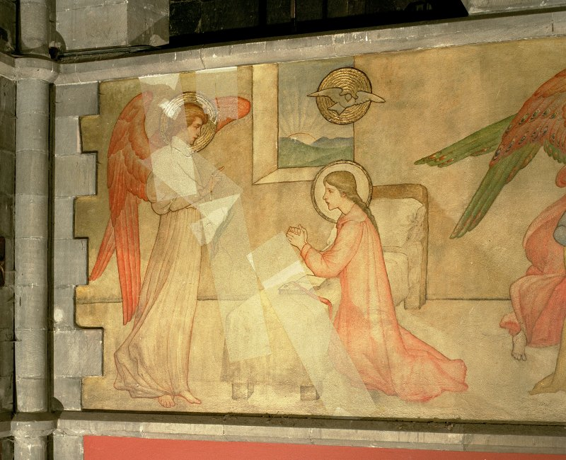 Interior. Nave, detail of mural depicting the Annunciation.