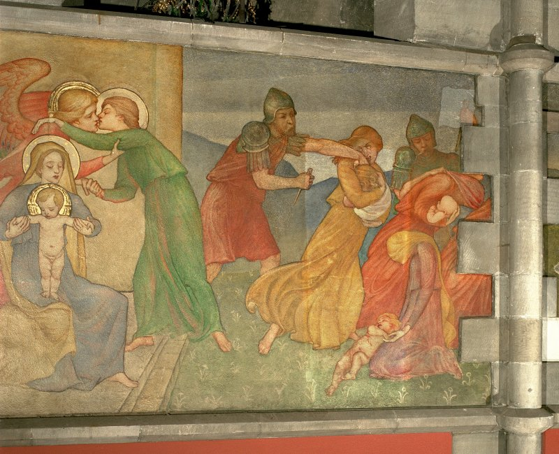 Interior. Nave, detail of mural depicting the Massacre of the Innocents.