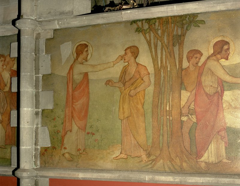 Interior. Nave, detail of mural depicting Christ healing the blind man.