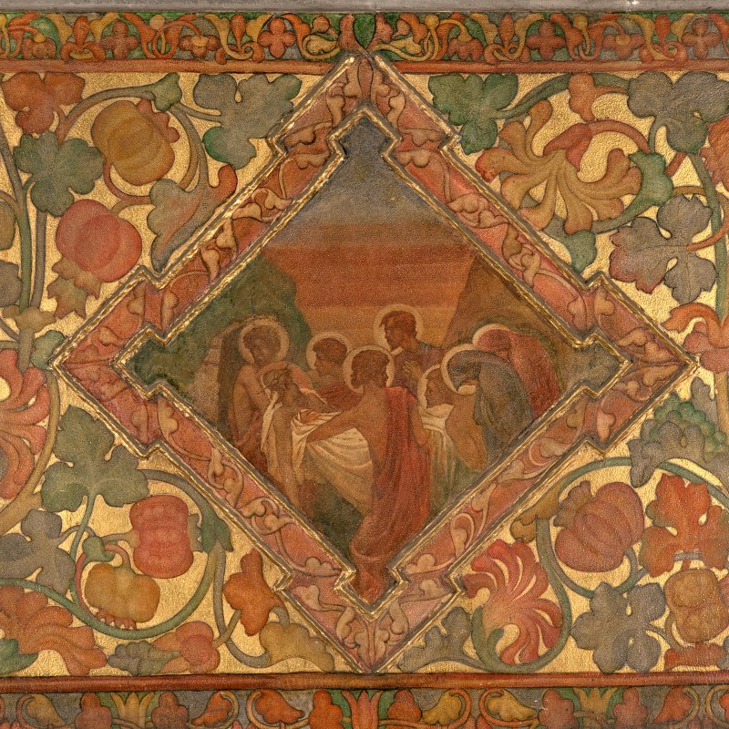 Interior. South chapel, detail of mural on south wall depicting Christ's body being carried into the tomb.