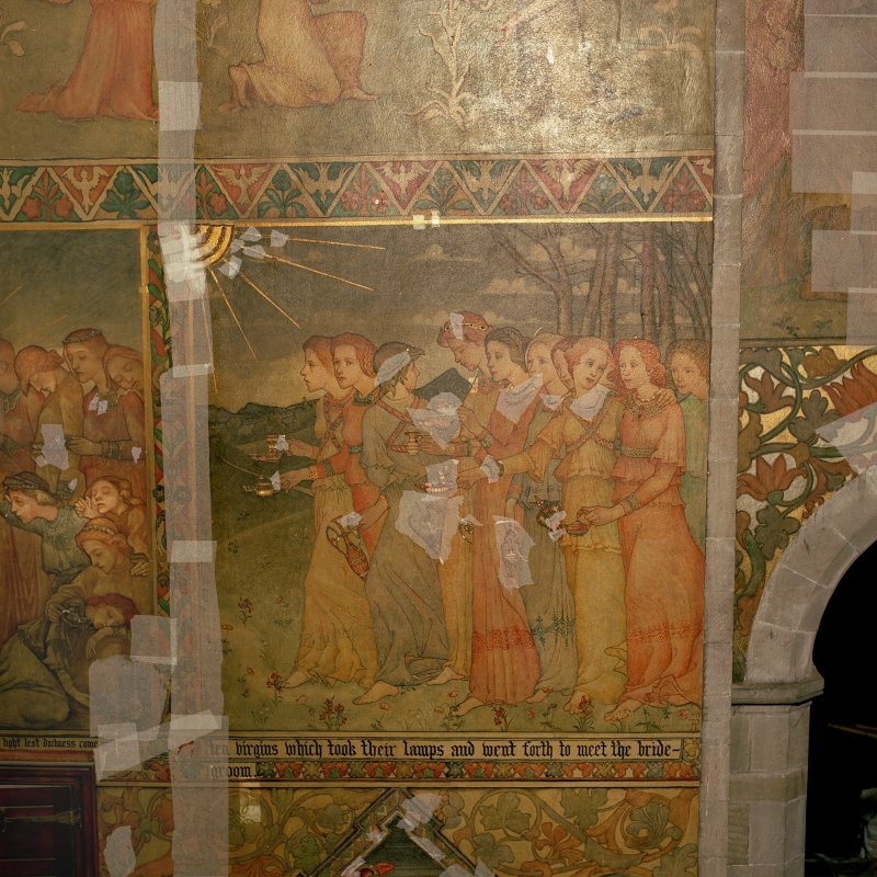 Interior. South chapel, view of mural on south wall depicting a scene from the parable of the Ten Virgins.