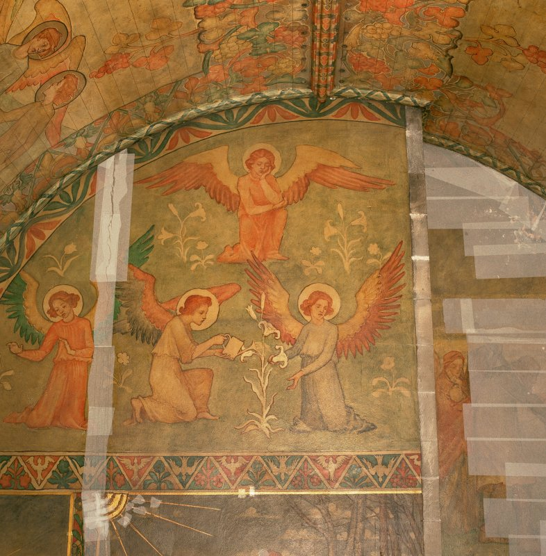 Interior. South chapel, detail of mural on west wall depicting a scene from the parable of the Ten Virgins.